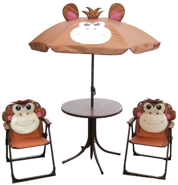 Dětský zahradní set MONKEY - křesílka, stoleček a slunečník