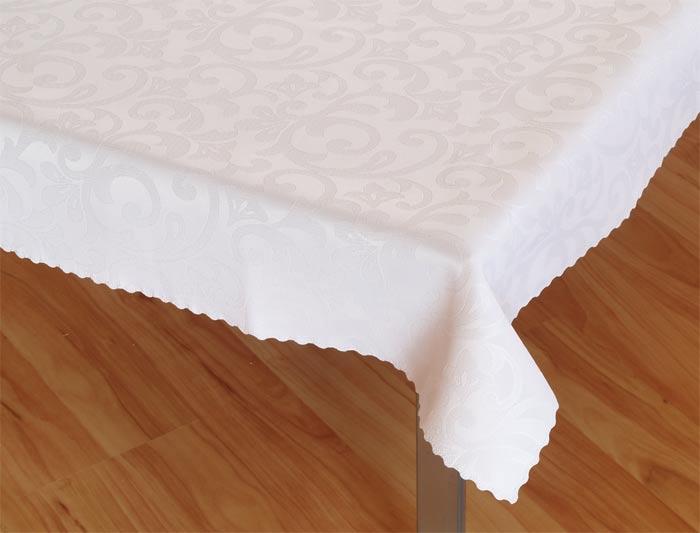Damaškový ubrus Linda - bílá,  ovál 120 x 160 cm