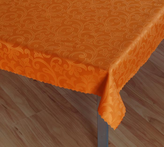 Damaškový ubrus Linda - oranžová, ovál 120 x 160 cm