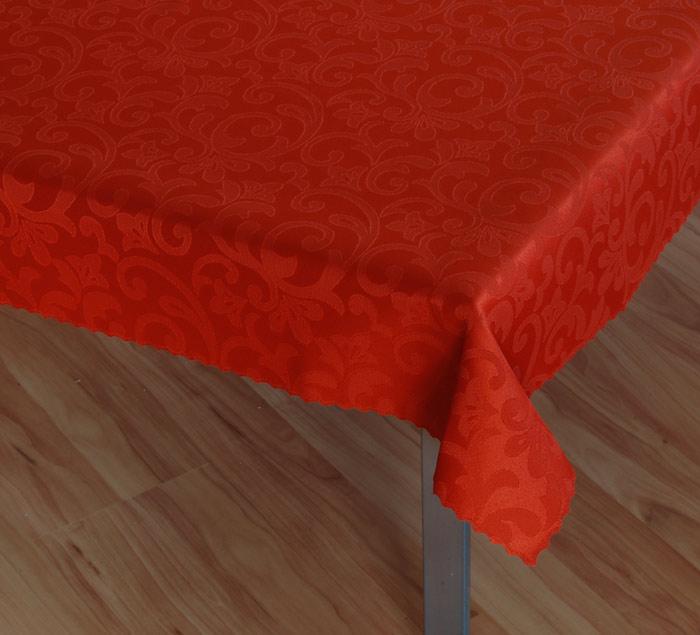 Damaškový ubrus Linda - terakotová, ovál 120 x 160 cm