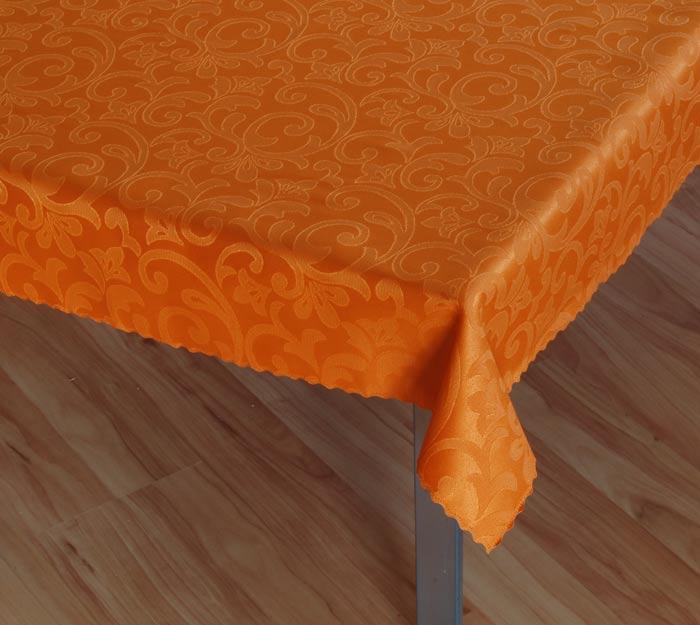 Damaškový ubrus Linda - oranžová, kruh pr. 150 cm