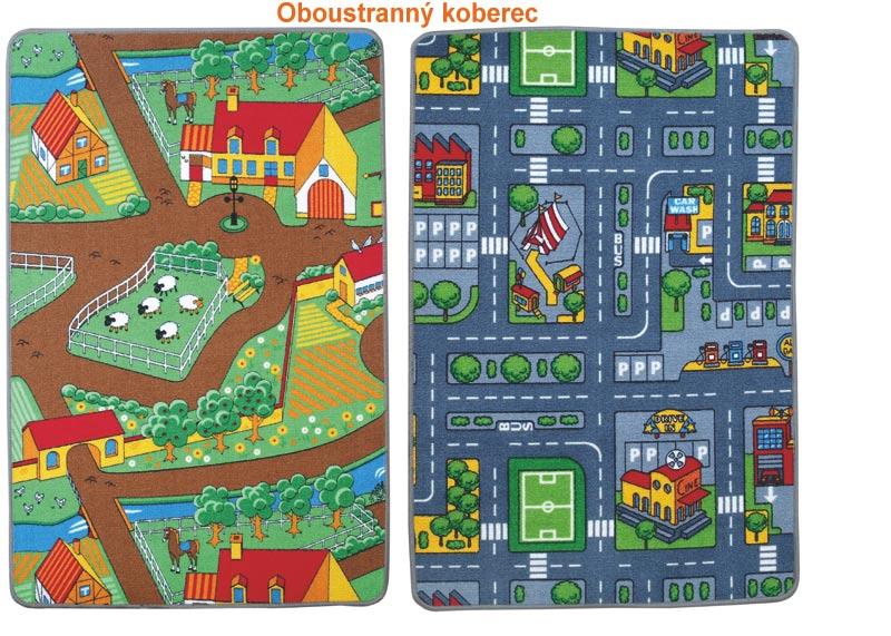 Dětský oboustranný koberec Farma a Město 100 x 165 cm, Vopi