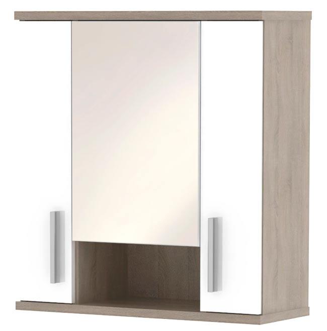 Horní skříňka se zrcadlem LI01, sonoma sv./ bílá lesk