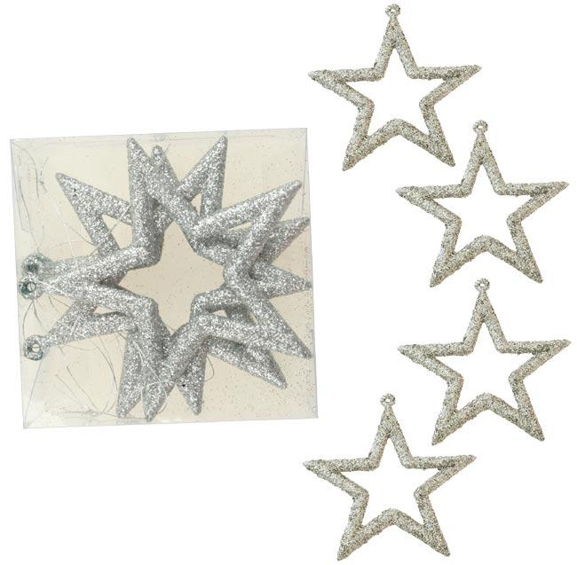 Hvězdy, závěsná dekorace stříbrná