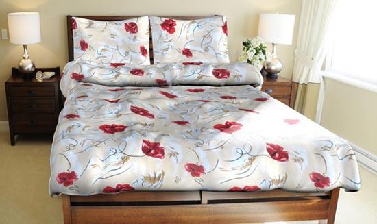 Povlečení bavlna na 2 postele Máky červené 140x200 70x90, Smolka