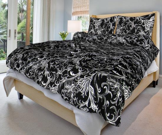 Povlečení bavlna na 2 postele Zuzana černá 140x200 70x90, Smolka