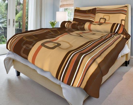 Povlečení bavlna na 2 postele Tonda hnědý 140x200 70x90, Smolka