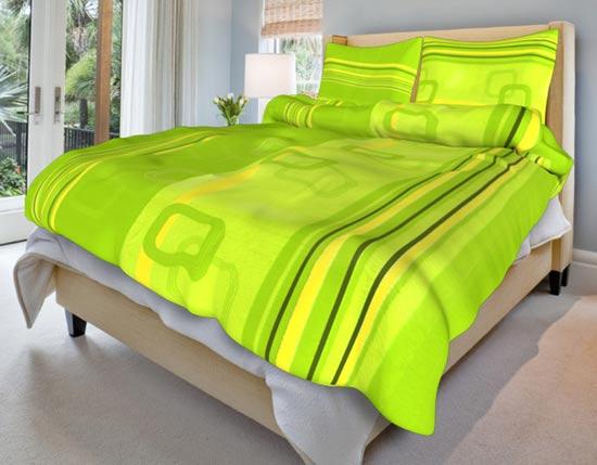 Povlečení bavlna na 2 postele Tonda zelený 140x200 70x90, Smolka
