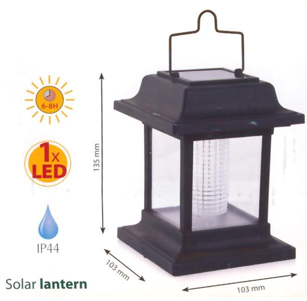 Lucerna solární Activer plast, černá