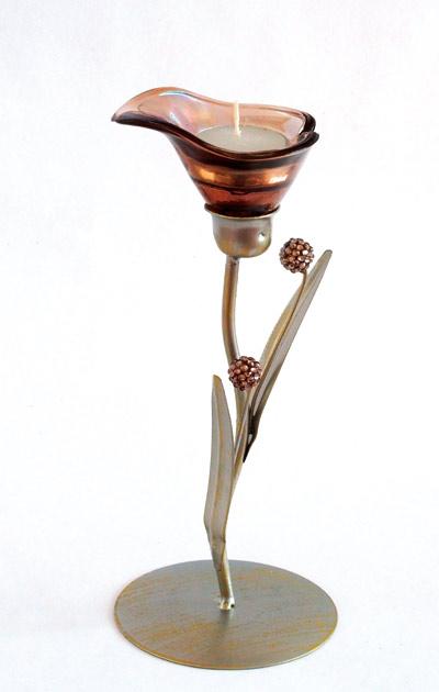 Kovový svícen na čajovou svíčku Kala 0575, 23 cm, nikl