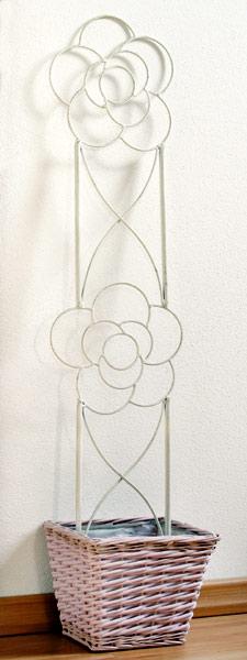 Kovová opora pro pnoucí rostliny 19 x 90 cm, bílá
