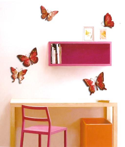 Dekorace do dětského pokoje - motýli růžová