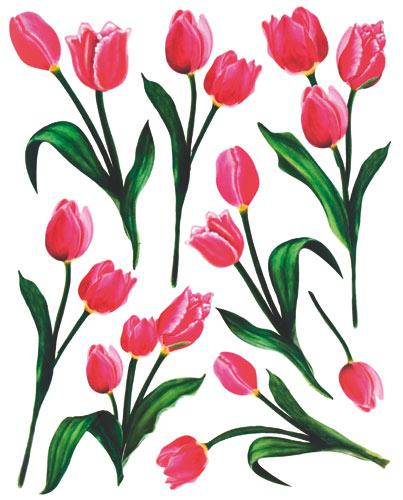 Fólie na okno bez lepidla květiny - 4 ks