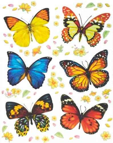 Fólie na okno bez lepidla motýlci - 4 ks
