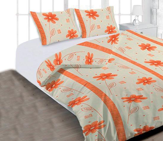 Povlečení bavlna na 2 postele Anežka oranžová 140x200 70x90, Smolka