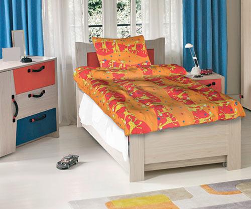 Krepové dětské povlečení do velké postele Žirafy oranžové 140x200 70x90, Smolka