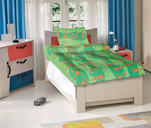Krepové dětské povlečení do velké postele Žirafy zelené 140x200 70x90, Smolka