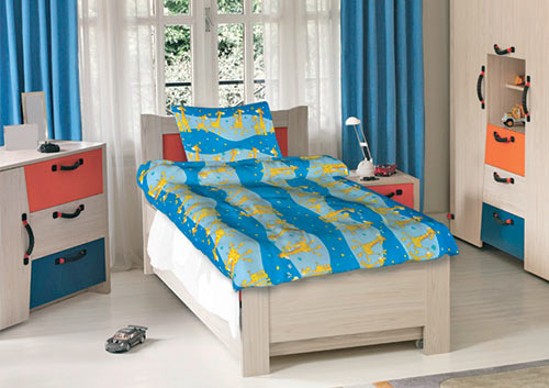 Krepové dětské povlečení do velké postele Žirafy modré 140x200 70x90, Smolka