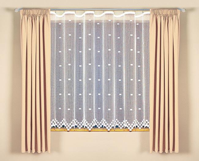 Šitá kusová záclona ALONDRA s řasící stuhou - 340 x 150 cm