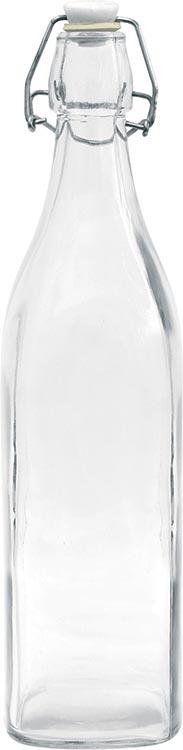 Skleněná hranatá láhev s uzávěrem 1 L