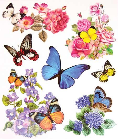 Okenní fólie motýli a květy 1 ks