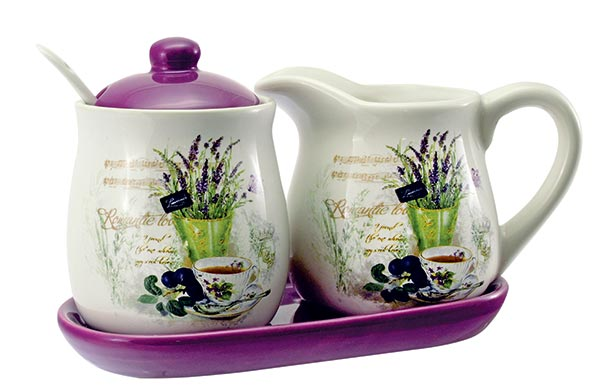 Keramický 4d set mlékovka s cukřenkou Lavender