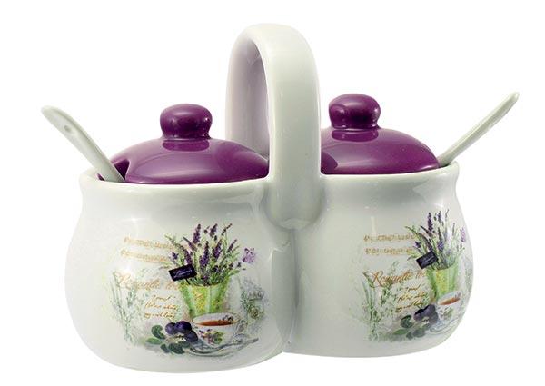 Keramická 2-dílná dóza se lžičkami Lavender