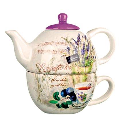 Keramická konvička se šálkem Lavender