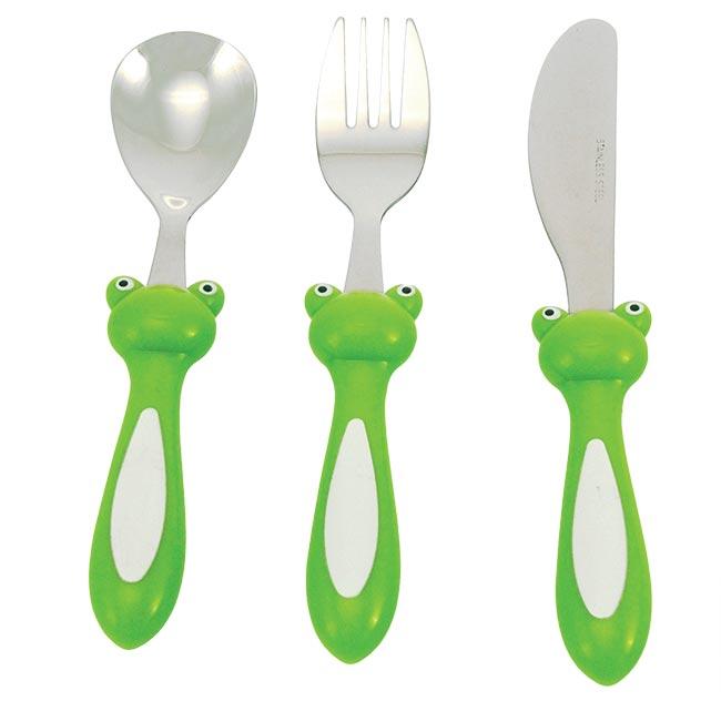 3-dílná sada dětských příborů Frog