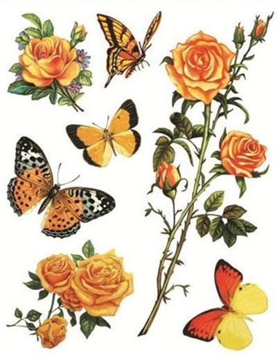 Okenní fólie kytice květů a motýli 1 ks