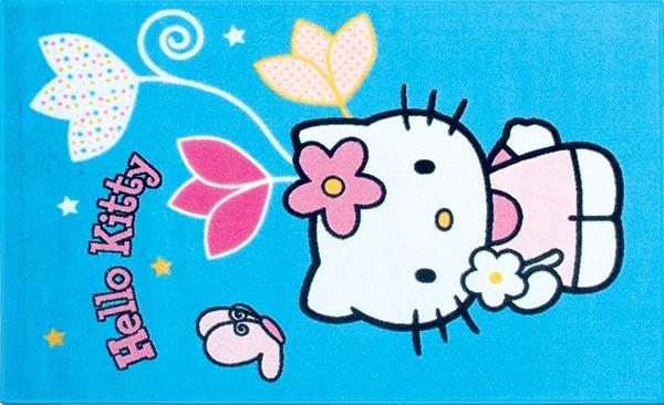 Dětský koberec Hello Kitty, modrý - motýl 80 x 120 cm