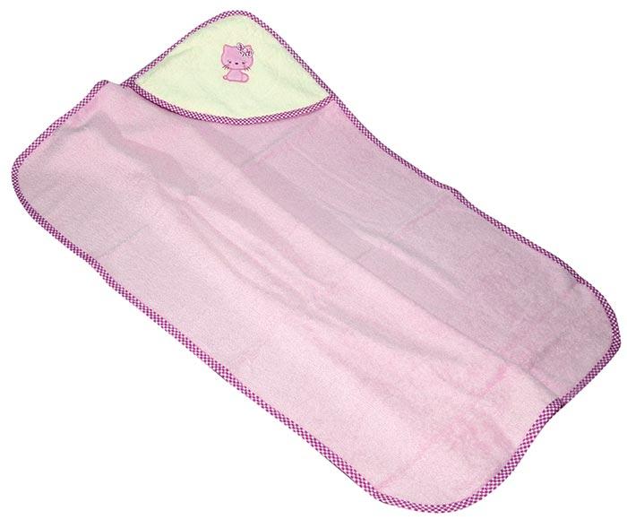 Dětská osuška s kapucí a výšivkou 90 x 90 cm, růžová