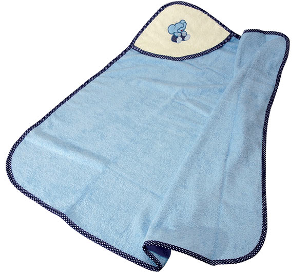 Dětská osuška s kapucí a výšivkou 90 x 90 cm, modrá