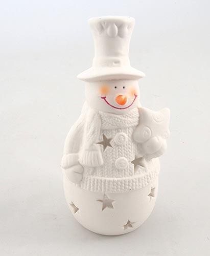 Sněhulák z porcelánu svícen