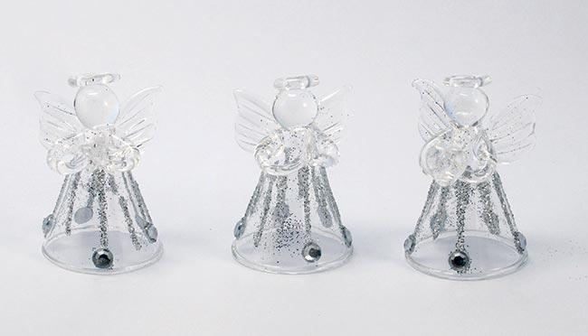 Andělé ze skla se stříbrnou svatozáří, sada 3 ks