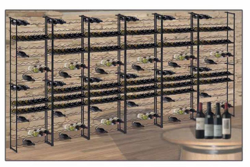 Regál na víno BARBERA, 48 lahví - kovový černý