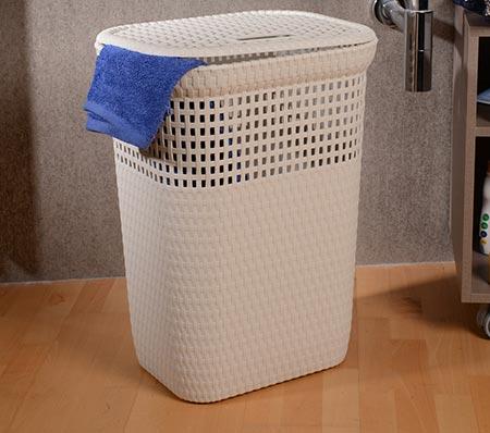 Rattanový koš na špinavé prádlo 60 l - bílý