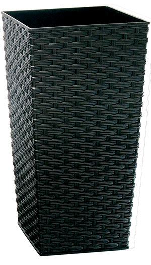 Ratanový květináč 25 x 25 x 47 cm, černý