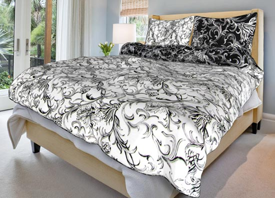 Povlečení bavlna na 2 postele Zuzana černobílá 140x200 70x90, Smolka