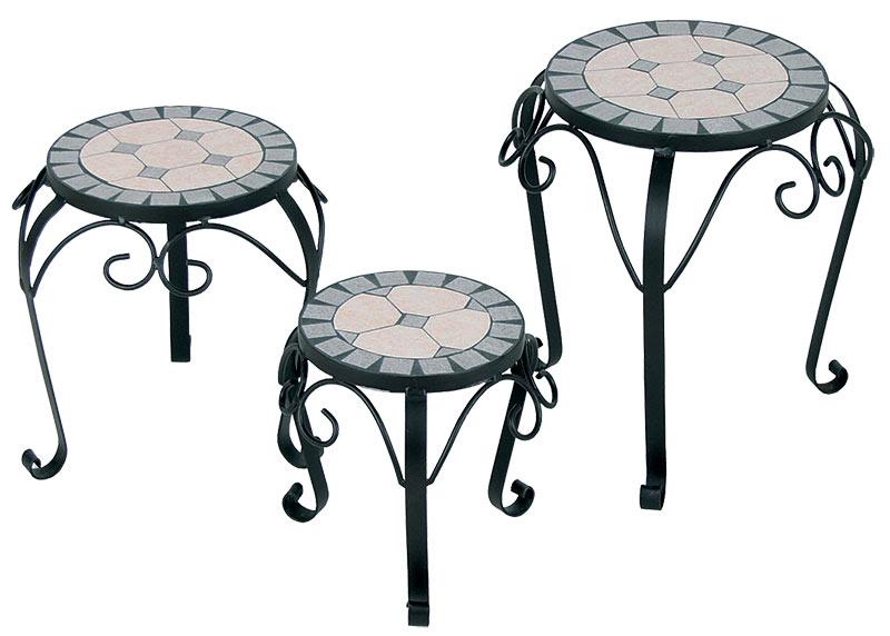 Kovový stolek na květiny Mozaika, 3 kusy