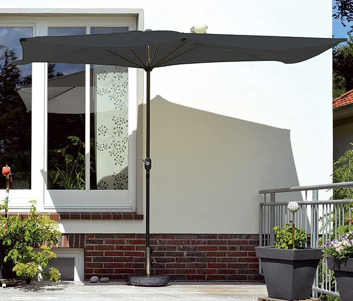 Slunečník na balkon 150 x 300 cm, antracit, Fortel