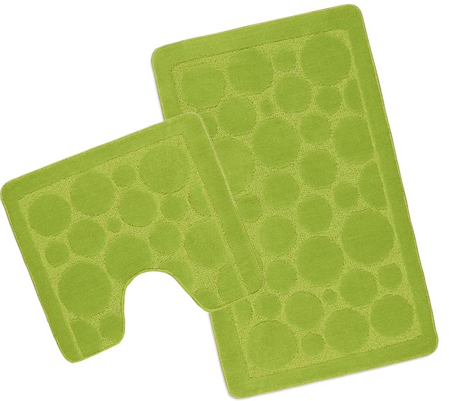 Koupelnová předložka  + WC, Standart zelená bublina, sada