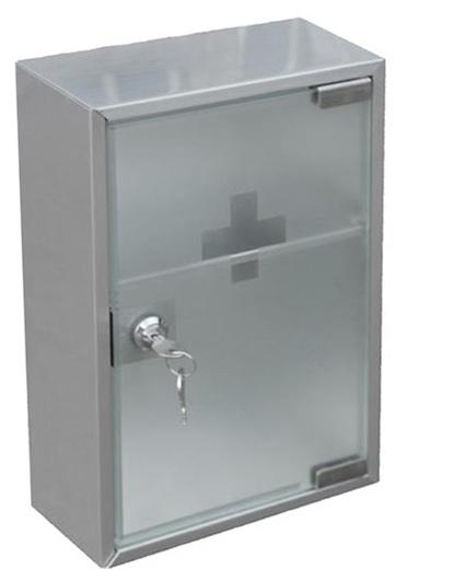 Nástěnná lékárnička kovová se skleněnými dvířky 523976, Fortel