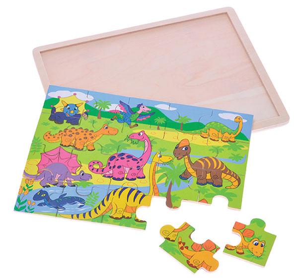 Puzzle dřevěné 30 x 22,5 cm dinosauři 20 dílků 24m+