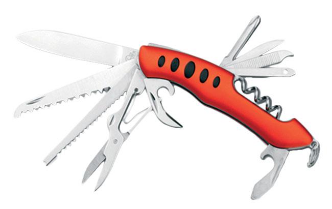 Nerezový kapesní nůž JACK, 11 funkcí, BEAVER oranžová