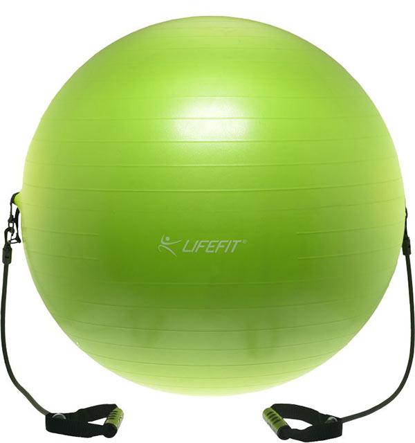 Lifefit gymnastický míč s expanderem 75 cm, sv. zelený