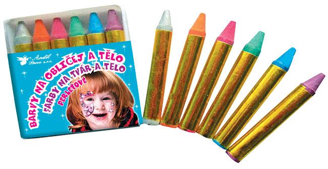 Barvy na obličej perleťové 6 ks