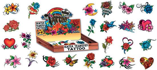 Růže - tetovačky květiny 72 ks