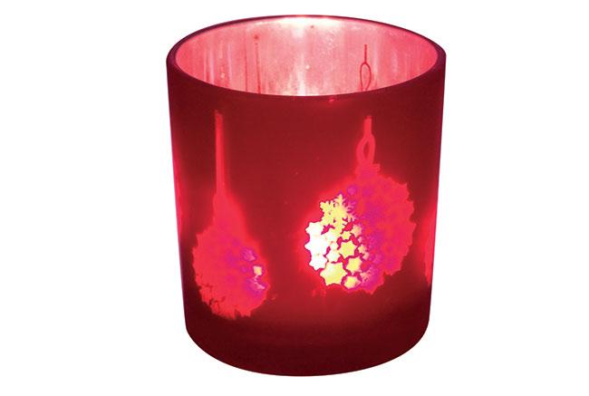 Svícen skleněný červený