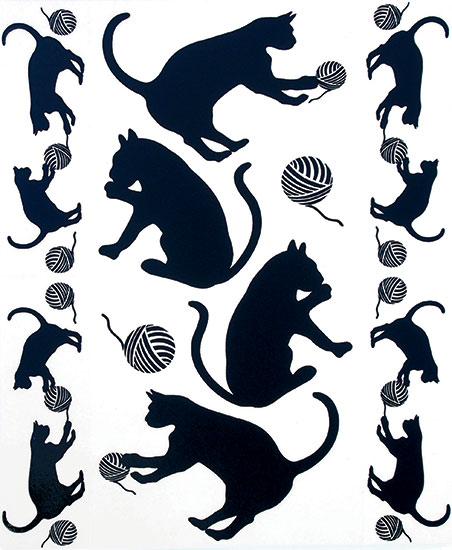 Okenní fólie Černé kočky 42 x 30 cm